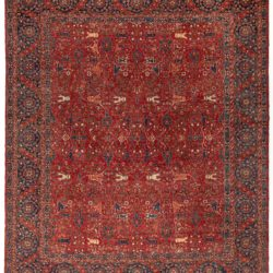 "New Paki Farahan Floral Vine Wool Hand-Knotted Rug 12'4""×14'7"""