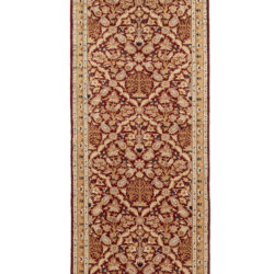 "New Pakistani Kashan Runner Hand-Knotted with Burgundy and Beige Wool 2'8""×10'0"""