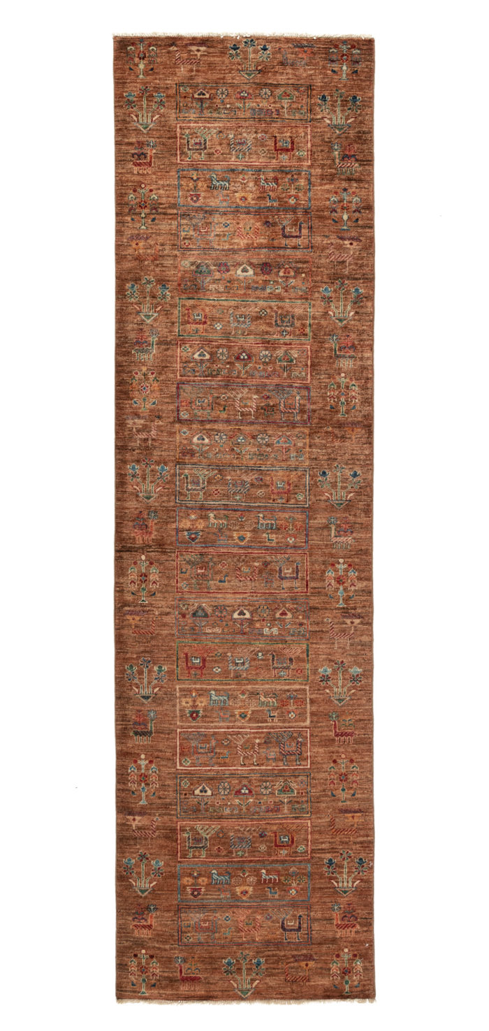 "New Pakistani Khoy Tribal Pictorial Runner with Brown Hand-Knotted Wool 2'9""×10'3"""