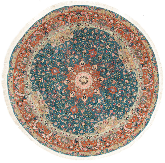 "New Sino-Persian Round Central Medallion Floral Rug 8'0""×8'0"""