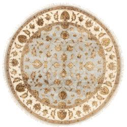 "New Wool & Silk Jaipur Round Floral Field Rug 7'10""×8'1"""