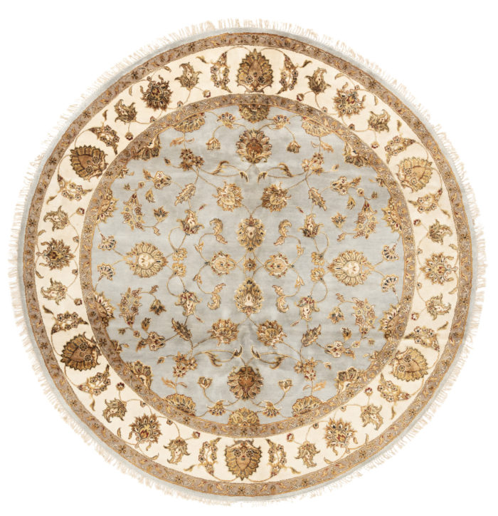 "New Wool & Silk Jaipur Round Floral Field Rug 7'10""×8'1"""