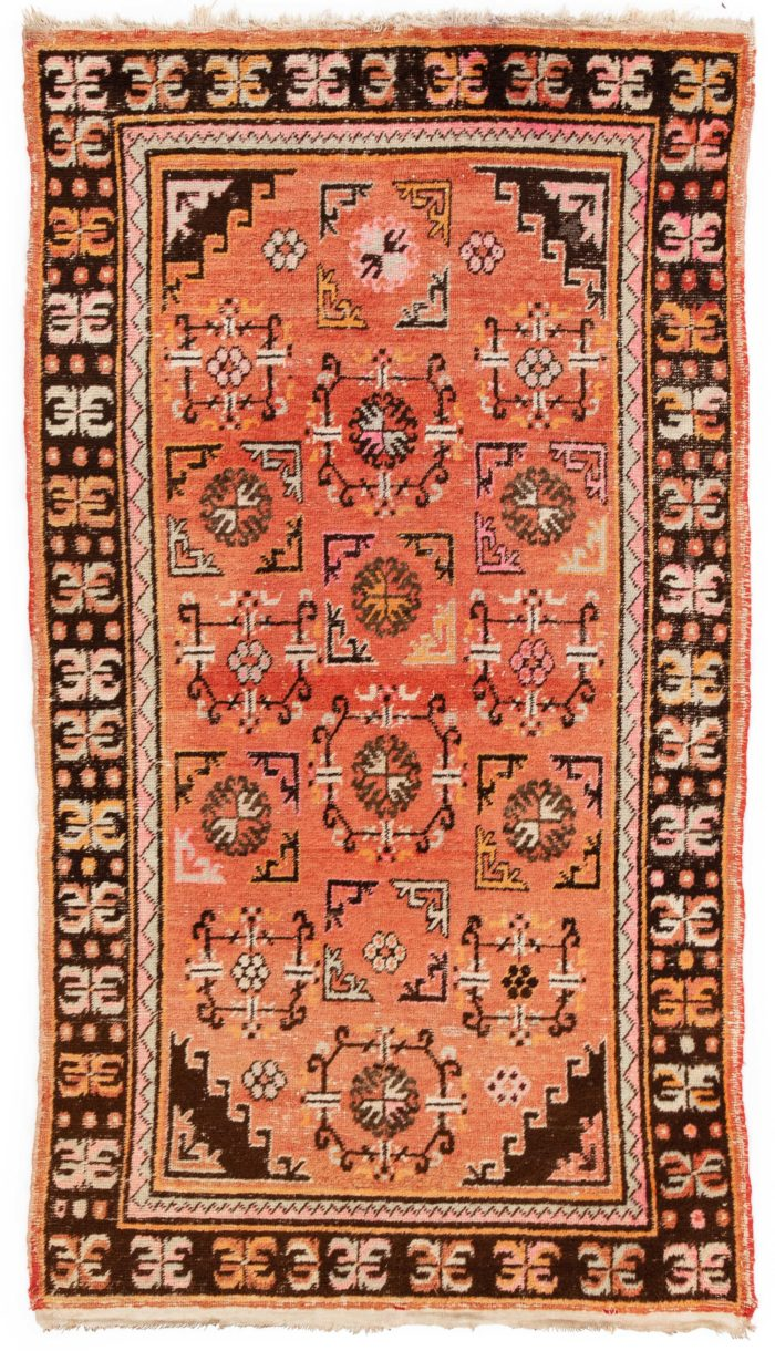 "Semi-Antique Central Asian Khotan 4'3""×7'6"""