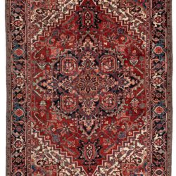 "Semi-Antique Hand Knotted Wool Heriz Rug 7'7""×11'1"""