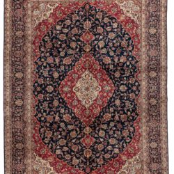 "Semi-Antique Kashan Floral Rug 8'7""×11'10"""