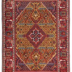 "Semi-Antique Persian Joshegan Rug 4'1""×6'8"""