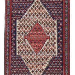 """Semi-Antique Persian Sennah Kilim 4'1""""×6'2"""""""