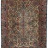 "Vintage Kerman Persian Lavar Rug Ivory Field and Navy Border 8'8""×11'11"""