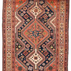 "Vintage Romanian Shiraz Rug 4'2""×5'11"""